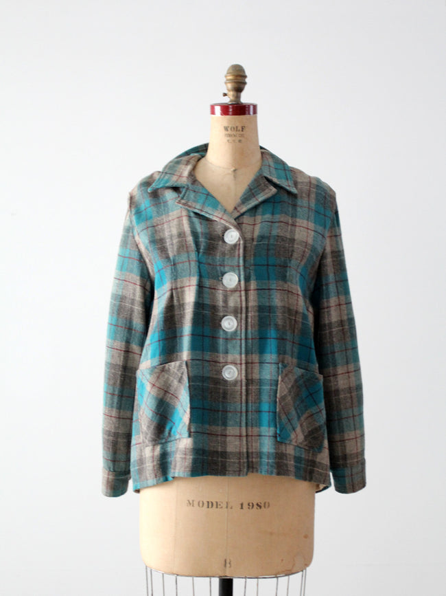 vintage 1940s plaid wool jacket