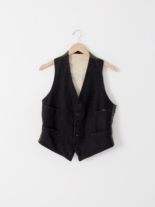 wool pinstripe vest ca. early 20th century