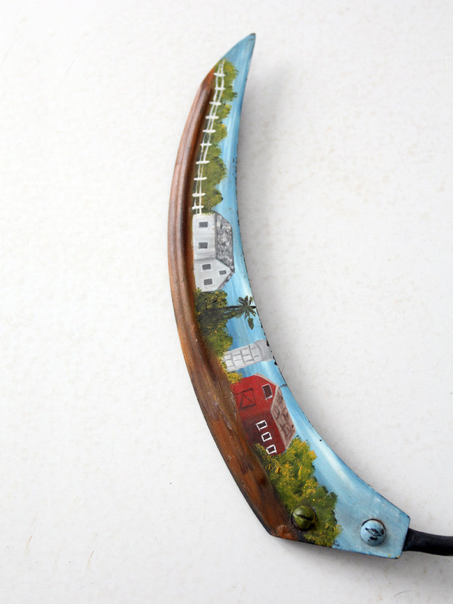 vintage folk art painting on sickle