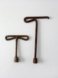 antique T wrench pair