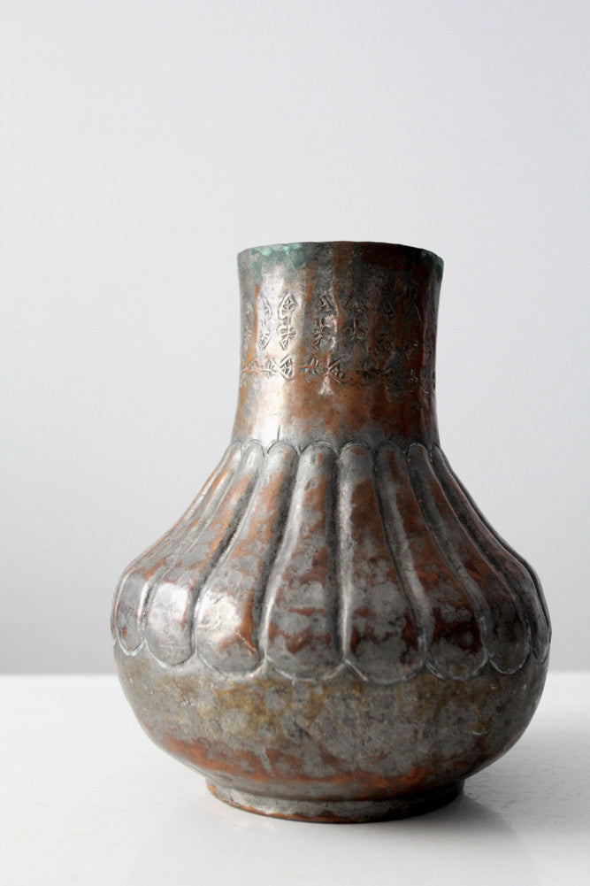 vintage Egyptian hammered copper vase