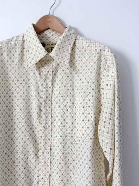 vintage 70s men's print button down shirt