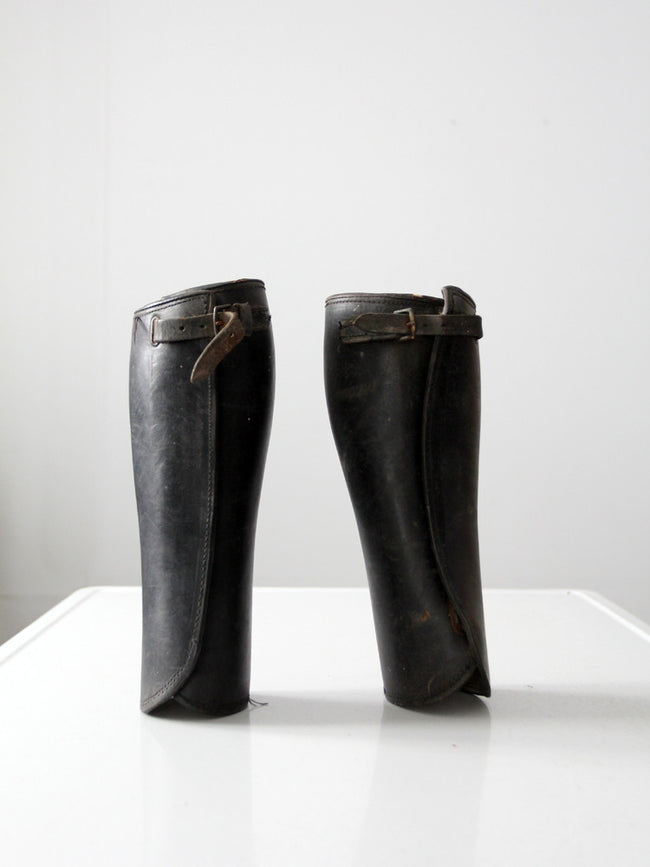 antique leather gaiters