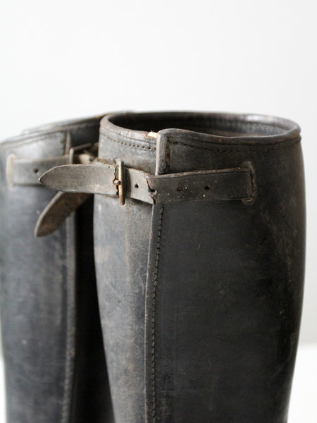 vintage black leather gaiters