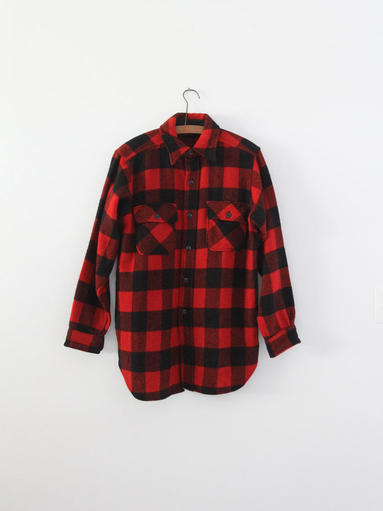 vintage 50s Uncle Sam plaid wool shirt