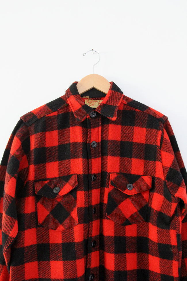 vintage 40s Bullseye Bill wool plaid shirt coat