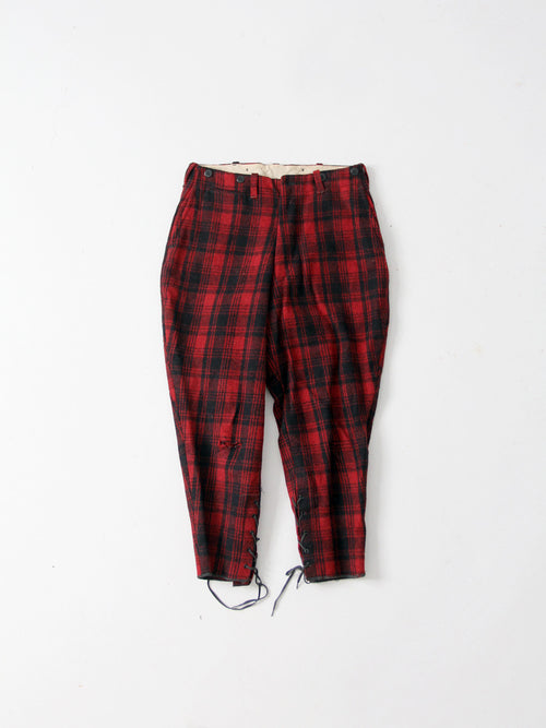 vintage 30s men's plaid hunting pants