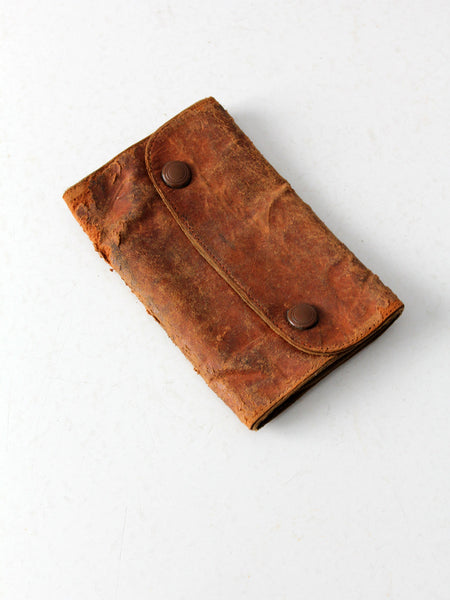vintage leather mending kit pouch