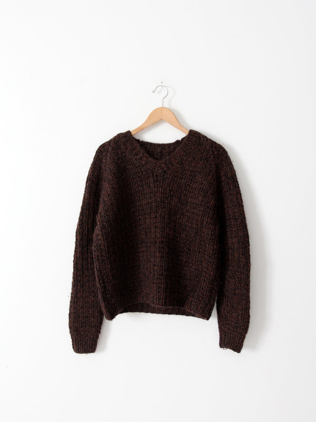 vintage chunky knit sweater with v-neck