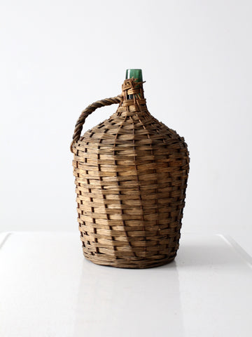 vintage white wicker harvest basket