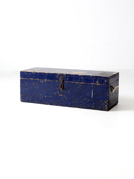 vintage blue wood toolbox