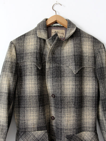 vintage 1950s Chippewa Falls Woolen Mills plaid wool coat