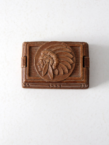 vintage Syroco style valet box with Indian chief