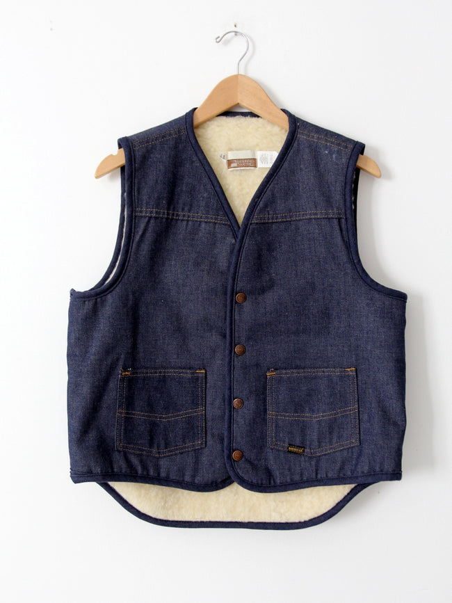 vintage 70s Sears denim vest with fleece lining
