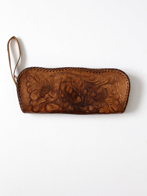 vintage 60s tooled leather wristlet bag