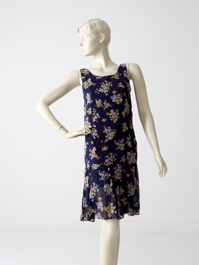 vintage 60s drop waist dress with floral print