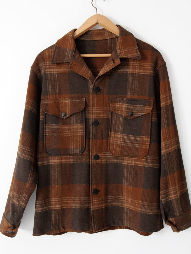 vintage 60s wool plaid shirt jacket