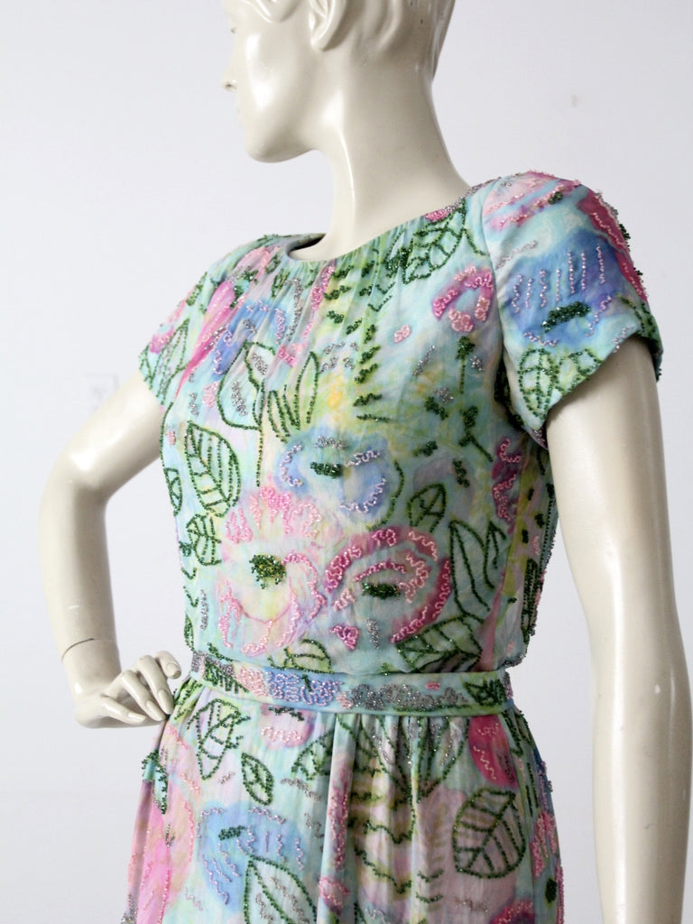 vintage 60s beaded chiffon dress with watercolor print