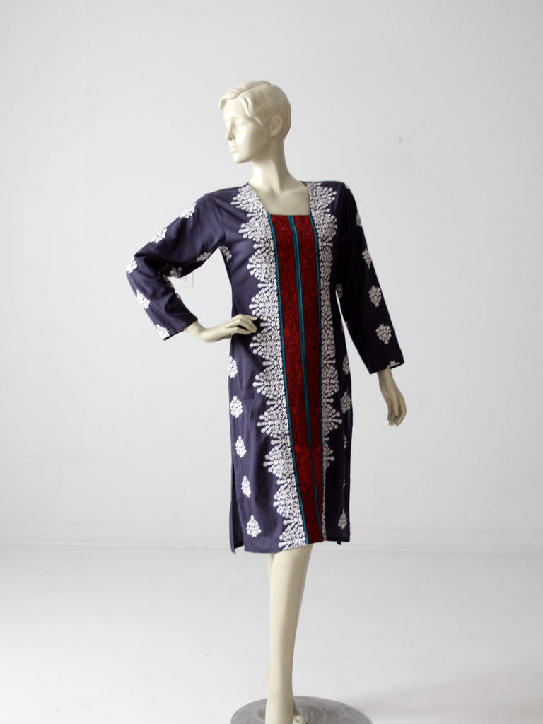 vintage 70s tunic caftan dress