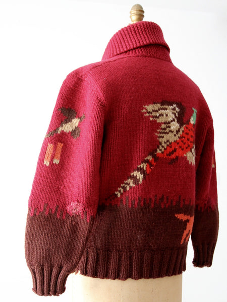 vintage 50s novelty sweater, the Duck Hunter