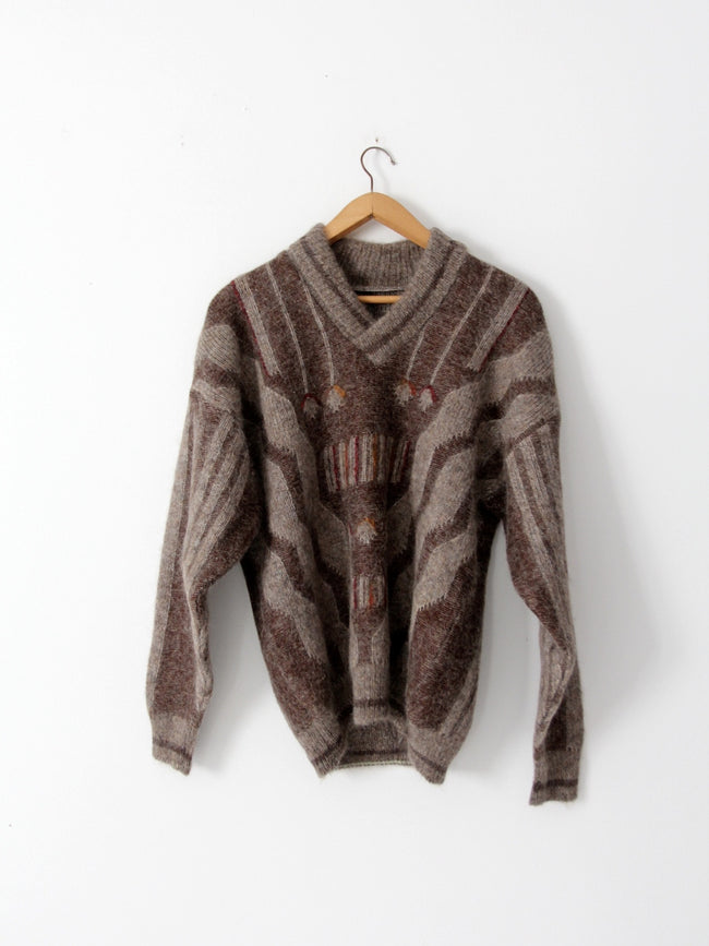 vintage shawl collar mohair sweater