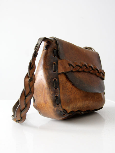 vintage 60s hand-crafted leather bag
