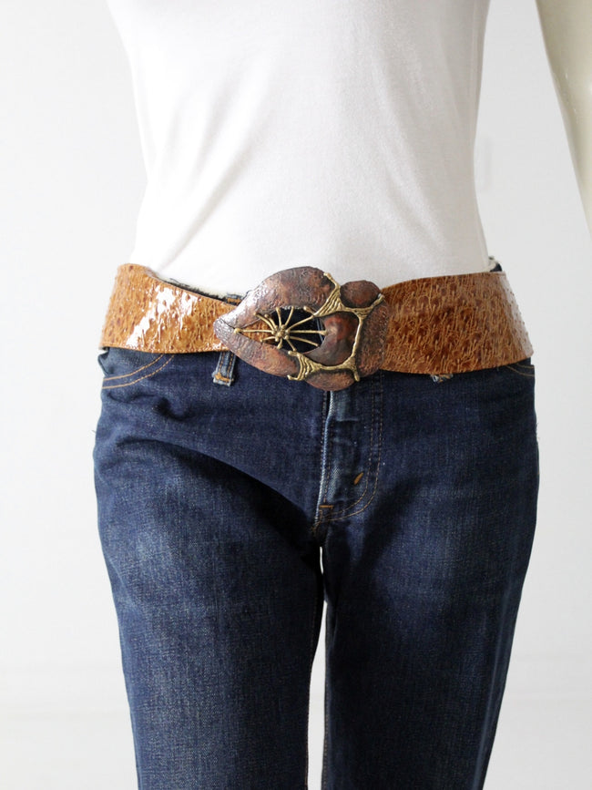 vintage 70s wide belt with brutalist art buckle