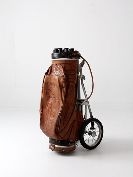 vintage tooled leather golf club bag with cart