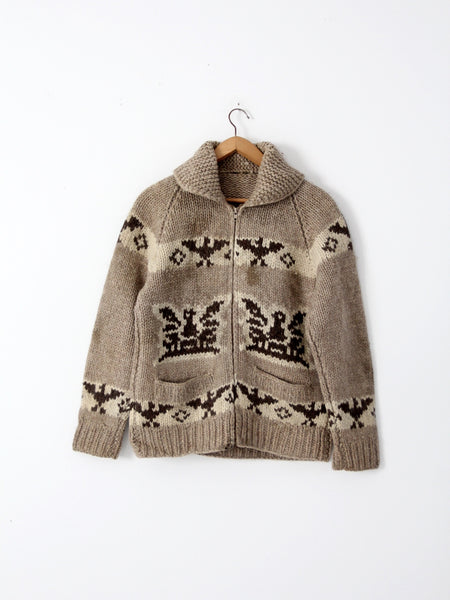 vintage cowichan sweater with thunderbird eagle pattern