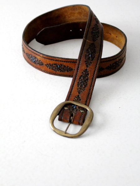 vintage 70s tooled leather belt with blue floral detail