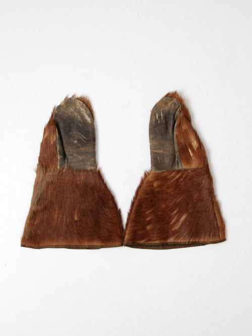 antique fur mittens