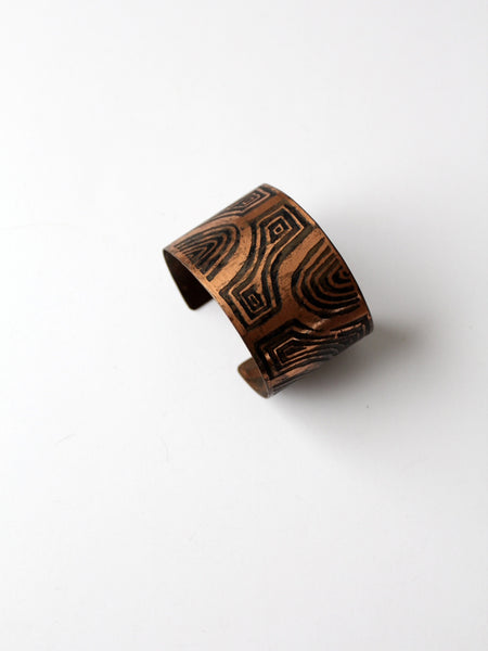 vintage signed copper cuff bracelet