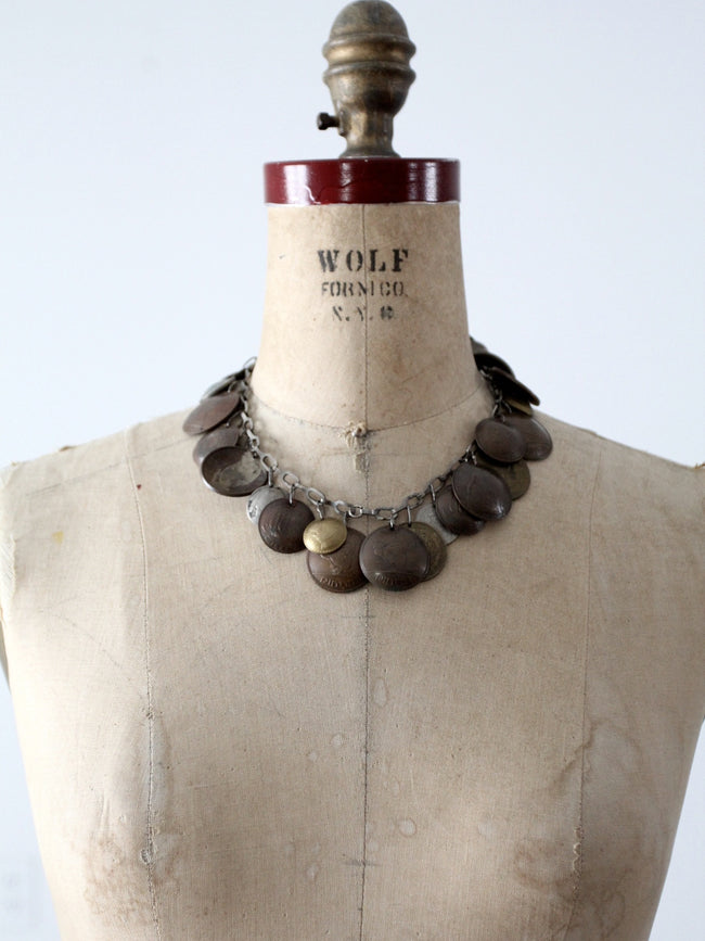 vintage world coin necklace