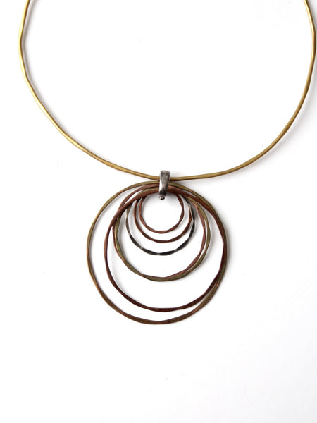 vintage 70s mixed metal collar necklace with pendant.