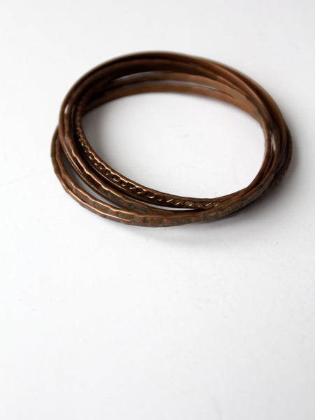 vintage 70s copper entwined bangles