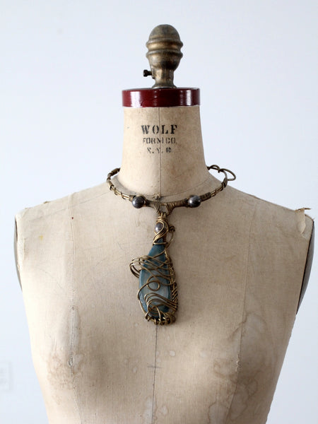 vintage 60s brutalist brass choker with agate pendant