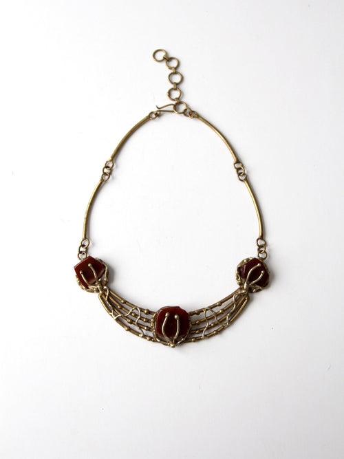 vintage 60s brutalist necklace with stone insets