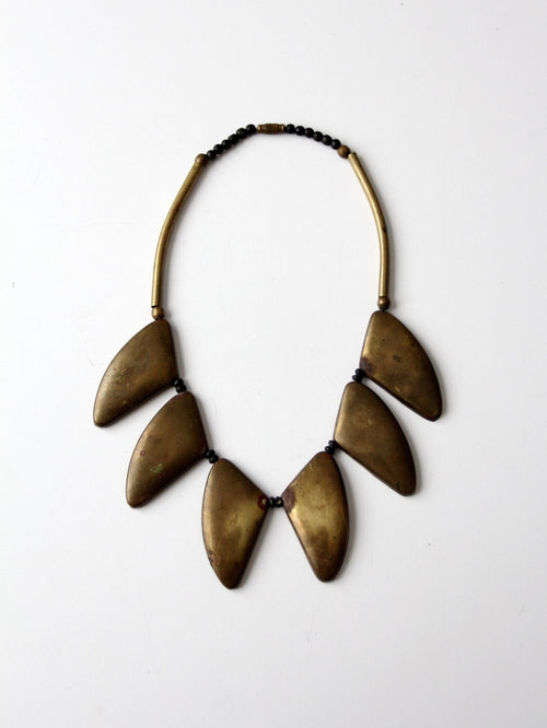 vintage brass statement necklace