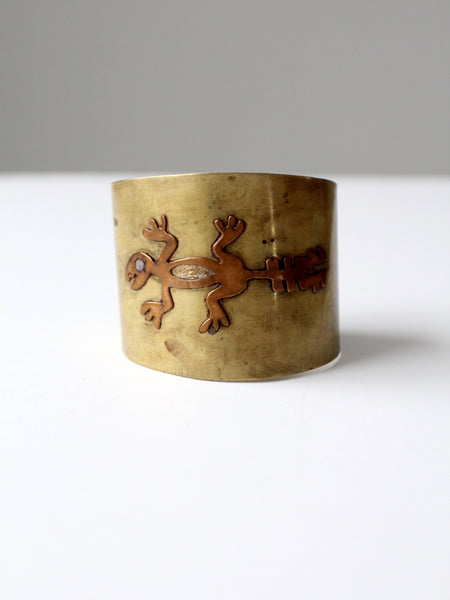 vintage Mexican brass cuff with Aztec symbol design