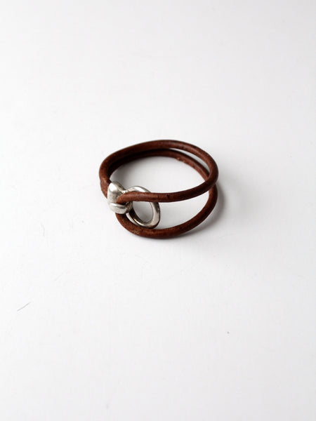 vintage 70s leather and silver bracelet