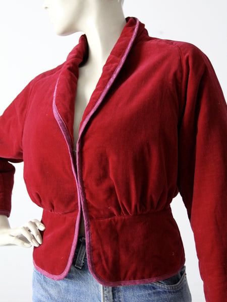 vintage velvet jacket with swan appliqué