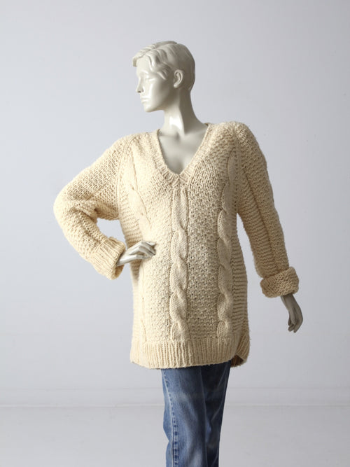 vintage 80s oversize v-neck sweater