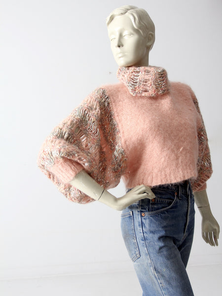 vintage crop turtleneck sweater