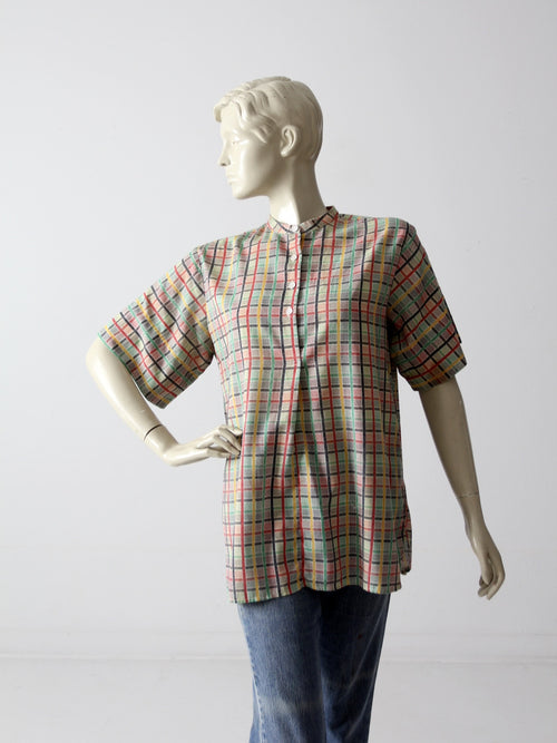 vintage 60s plaid henley shirt