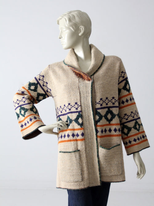 vintage 70s hippie wrap sweater