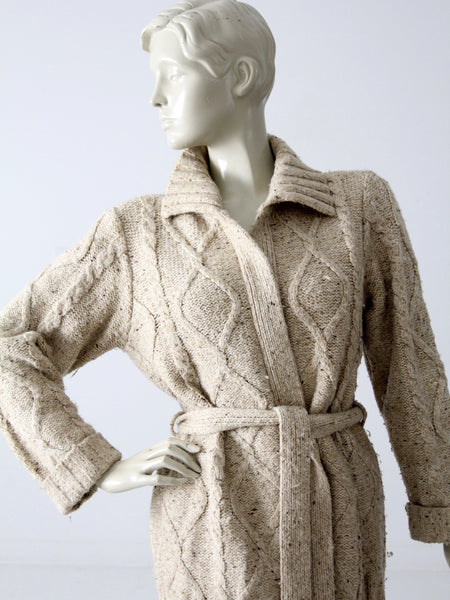 vintage 70s cable knit wrap cardigan