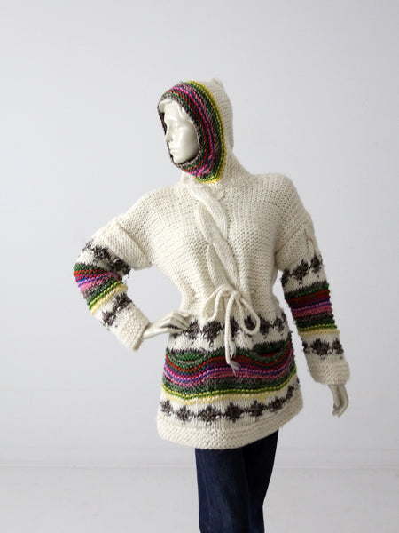 vintage 70s hooded sweater