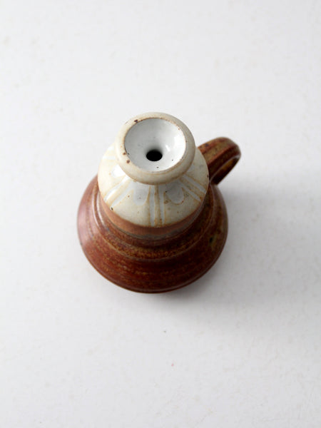 vintage studio pottery oil lamp by Charles Piatt