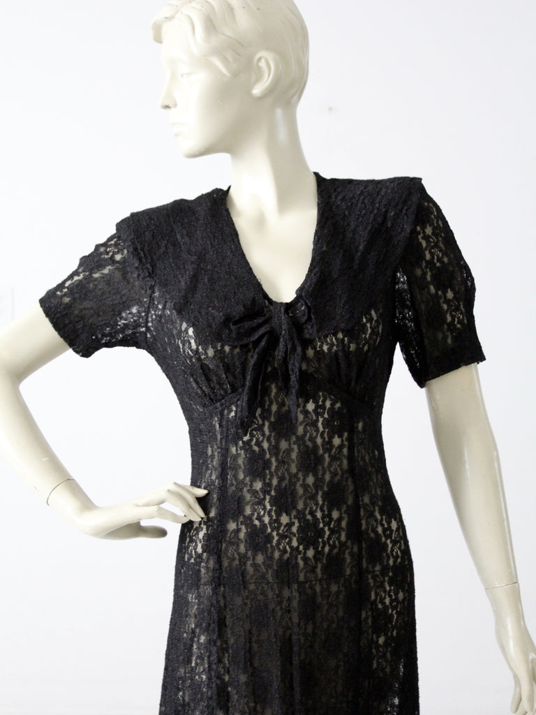 vintage 70s black lace maxi dress