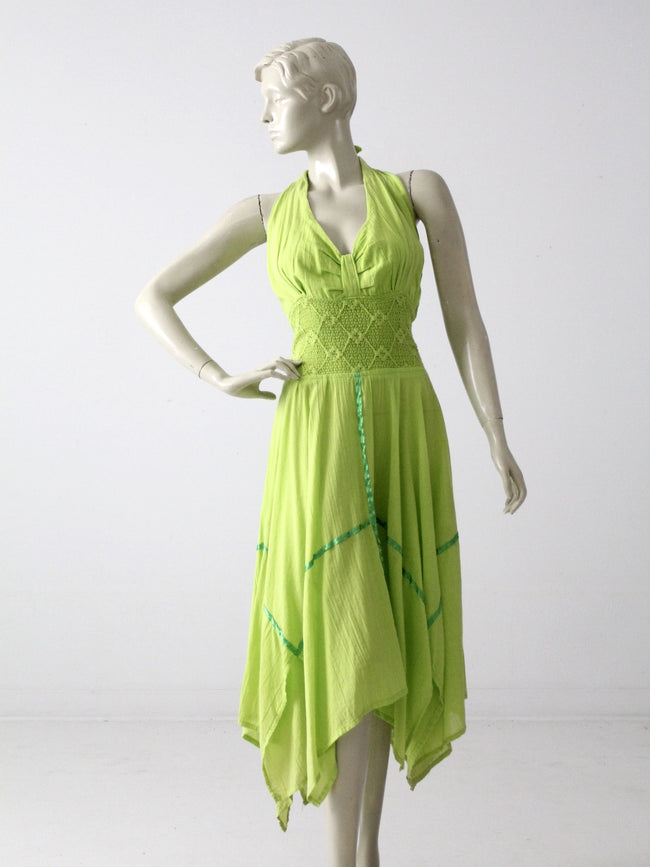 vintage 70s gauze halter dress